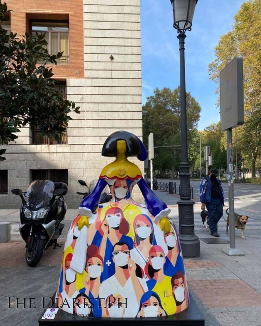 Madrid's streets are dotted with Menina statues inspired by the painter Diego Velasquez, including this one which pays tribute to Spain's healthcare frontliners.