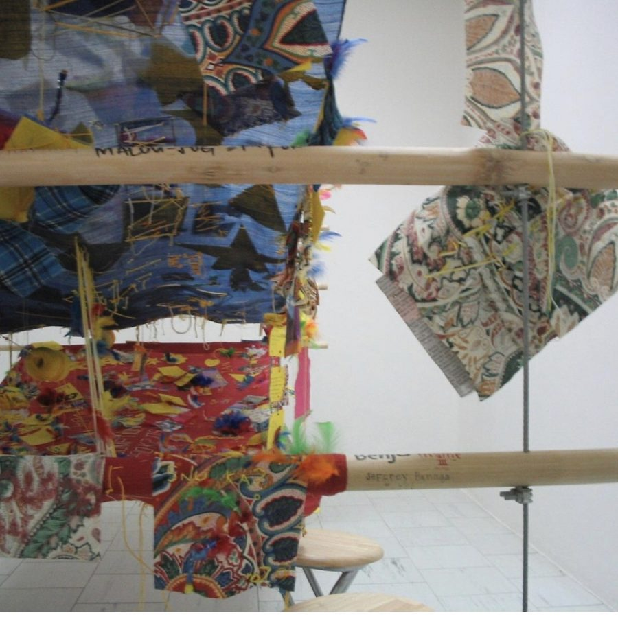 Medalla's 'Stitch in Time' mounted in 2003 at Lopez Museum and Library as part of the exhibit 'Essence and Sympathies' (Photo from Lopez Museum and Library)