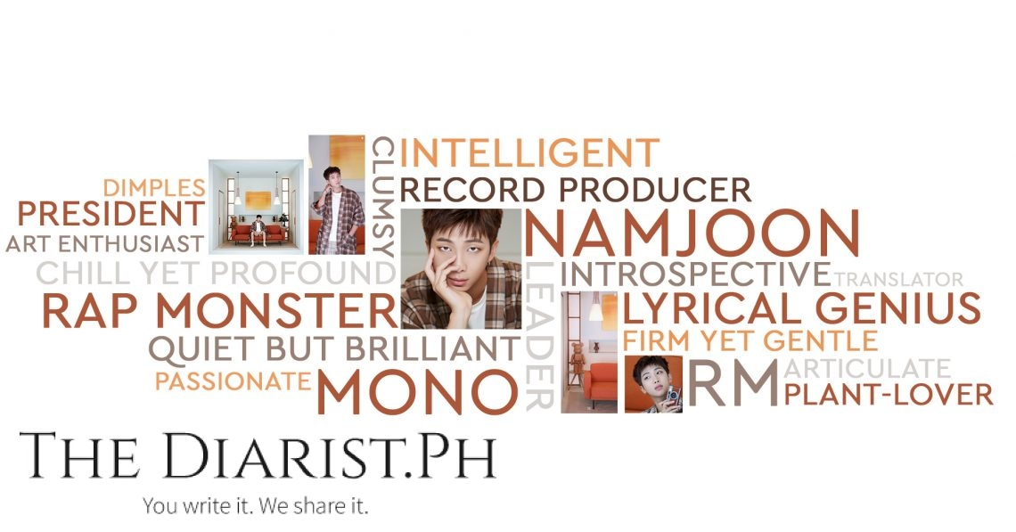 Kim Namjoon is the leader of BTS, with key words the Army respondents use to describe him. (Illustration by Chyla Guerrero)