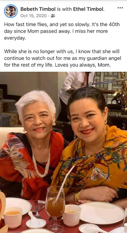 Journalist Ethel Timbol (From Bebeth Timbol's post in FB)
