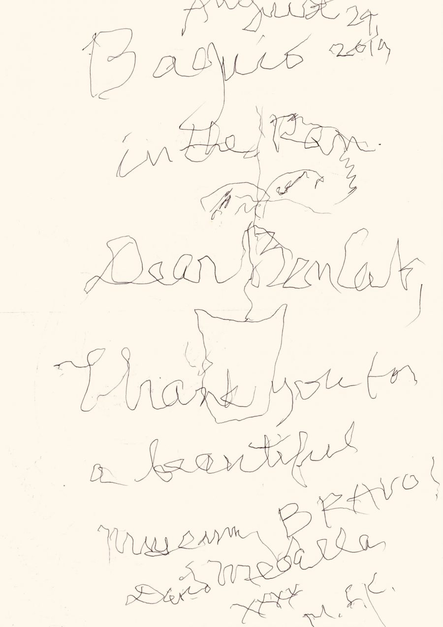 On a visit to BenCab Museum last August, David Medalla scribbled this note congratulating BenCab for the museum's success. (Photo from BenCab Museum)