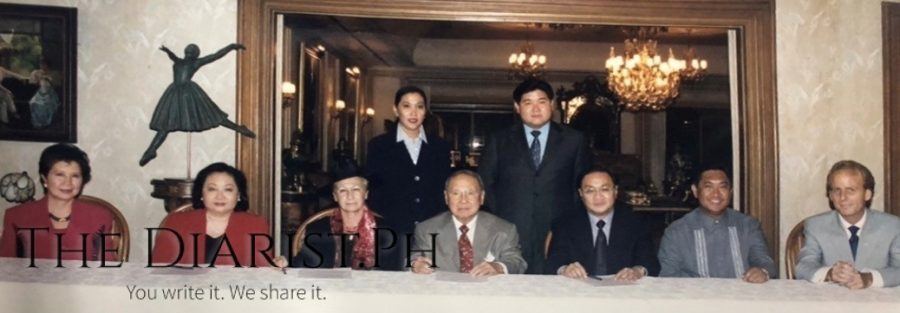 In October 2000, at the contract signing of the Salvatore Ferragamo Concert Fashion Show, seated, from left, Felicitas S. Montenegro, president, Philippine Italian Association; Nedy Tantoco, president, Stores Specialists, Inc.; Italian Ambassador Graziella Simbolotti; Ambassador Bienvenido R. Tantoco, Sr., chairman, Rustan Group of Companies; Manny Pangilinan, chairman Fort Bonifacio Development Corporation; Ric Pascua, CEO, Fort Bonifacio Development Corporation; Richard Riley, general manager, Makati Shangri-La, Manila; standing, from left, the author and Anthony T. Huang, executive vice president, Stores Specialists, Inc.